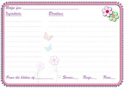 Butterflies & flowers recipe card