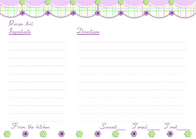 Green & purple recipe card