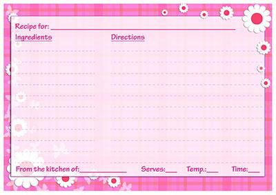 Pink spring recipe card