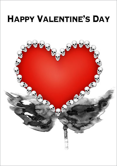 Skulls Heart Gothic V-Day Card 005