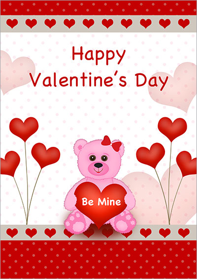 A Pink Bear Hearts V-Day Card 002