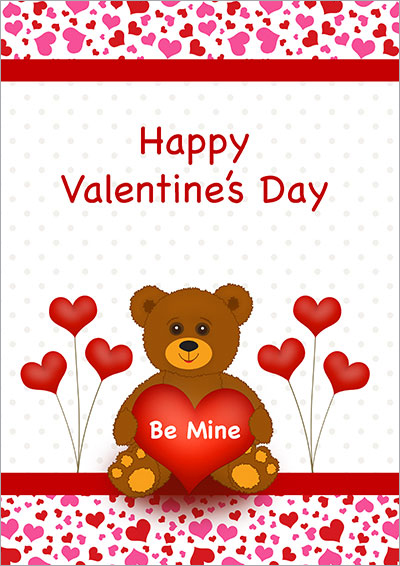 Printable Valentine Cards – Teddy Bear Valentines Day Card