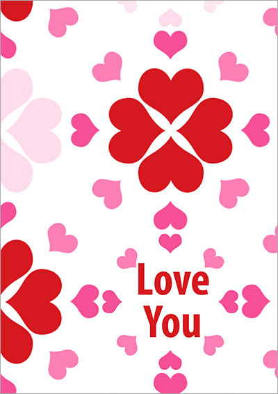Love You Hearts Printable Card 017