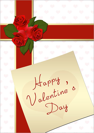 Red Roses Gift Valentine Card 024