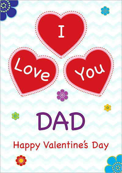 I Love You Dad Hearts Card 033
