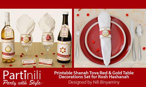 Partinili - Printable Shanah Tova Red & Gold Table Decorations Set for Rosh Hashanah