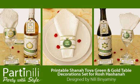 Partinili - Printable Shanah Tova Green & Gold Table Decorations Set for Rosh Hashanah