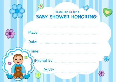 Blue Stripes Baby Shower Invite 001