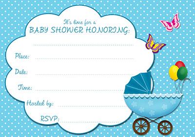 Blue Stroller Baby Shower Invite 002