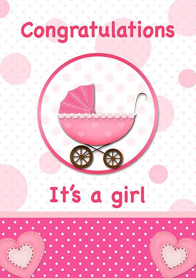Congrats It's A Baby Girl Card 002