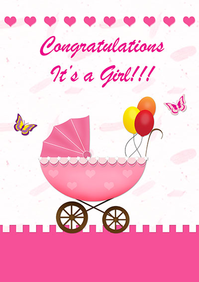 Baby Girl Balloon Greeting Card 003