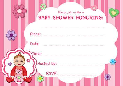 Pink Stripes Baby Shower Invite 001