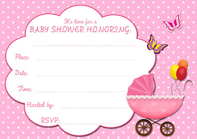 Pink Stroller Baby Shower Invite 002