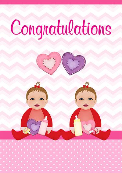 Baby Girl Twins Congrats Card 004
