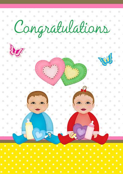 Baby Boy & Girl Twins Congrats 005