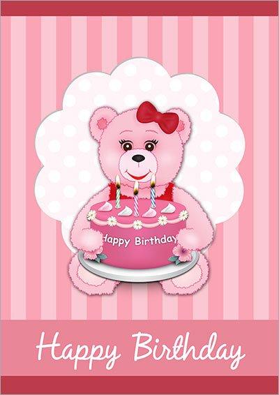 Pink Teddy & Cake Birthday 006
