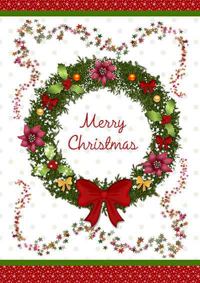 Christmas Wreath Printable Card 004