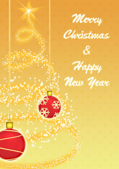 Golden Christmas Ornaments Card 008