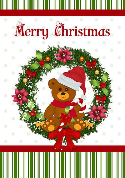 Merry Christmas Teddy Wreath 012