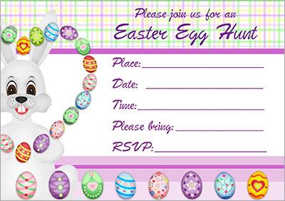 Bunny Juggle Egg Hunt Invitation 005