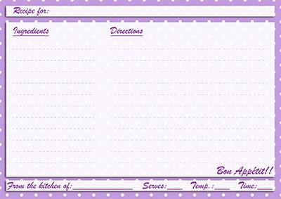 Purple polka-dots recipe card