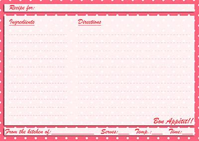 Red polka-dots recipe card