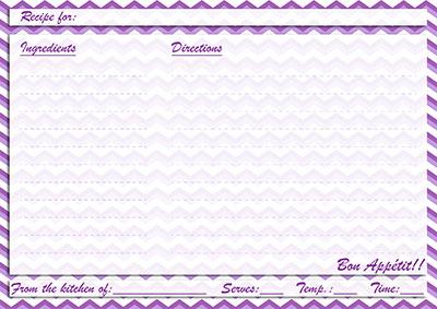 Purple chevron recipe card